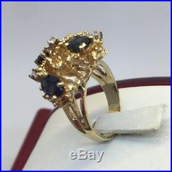 Vintage 14k Yellow Gold 2 Carat Blue Sapphire Diamond SI Nugget Cocktail Ring 7