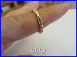 Vintage 14k Yellow Gold 2 MM Wide Rope Stack Band Ring Sz 6 Guard Ring