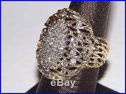 Vintage 14k Yellow Gold Cluster Ring Size 9.40 ct Diamonds (9.8g)