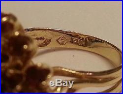 Vintage 14k Yellow Gold Ruby Diamond Cocktail Ring Estate Jewelry 10.89 grams