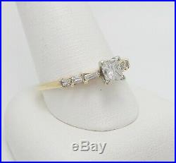 Vintage 1CT Diamond Solitaire Engagement Wedding Bridal Ring 14K Yellow Gold