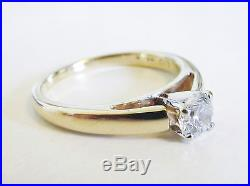 Vintage Estate 0.44ct Diamond Solitaire Engagement Ring 14k Yellow Gold