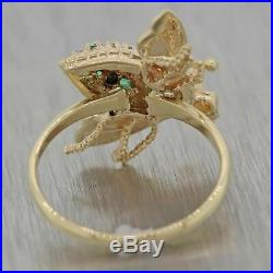 Vintage Estate Solid 14k Yellow Gold. 20ctw Emerald Diamond Bee Cocktail Ring