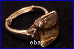 Vintage I&z 14k Yellow Gold Citrine Ring About Size 5 1/2 With Ring Sizer Tested