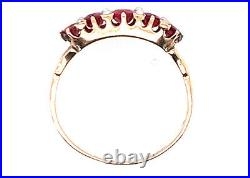 Vintage Ruby Seed Pearl Cocktail Ring 1.50ct Antique Victorian 14K Yellow Gold