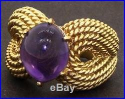 Vintage heavy 18K gold beautiful 4.0CT amethyst solitaire cable cocktail ring