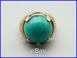Vtg 14K Gold Turquoise Ring Sz 7.25 Woven Rope Cabochon Estate Cocktail Heavy