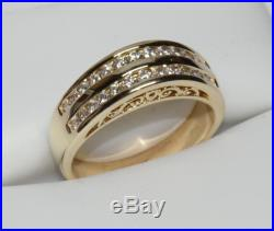 WOW! 14K Double Diamond Band 3/4ct Solid Yellow Gold Ornate Wedding Ring Round