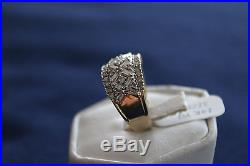 Women's Yellow Gold 14K Diamond Cluster Ring Size 7 Appx 1CT